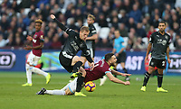 Burnley's Matej Vydra and West Ham United's Robert Snodgrass<br /> <br /> Photographer Rob Newell/CameraSport<br /> <br /> The Premier League - West Ham United v Burnley - Saturday 3rd November 2018 - London Stadium - London<br /> <br /> World Copyright &copy; 2018 CameraSport. All rights reserved. 43 Linden Ave. Countesthorpe. Leicester. England. LE8 5PG - Tel: +44 (0) 116 277 4147 - admin@camerasport.com - www.camerasport.com