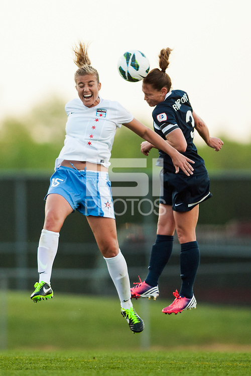 Sky Blue FC defender Christie Rampone (3) goes up for a header with Chicago Red Stars defender Lauren Fowlkes (15). Sky Blue FC and the Chicago Red Stars played to a 1-1 tie during a National Women's Soccer League (NWSL) match at Yurcak Field in Piscataway, NJ, on May 8, 2013.