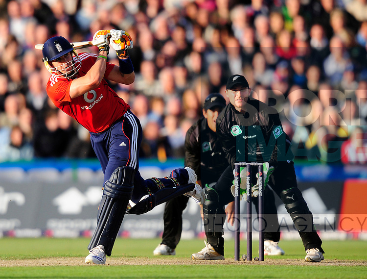 Kevin Pietersen of England hits out to score a big four