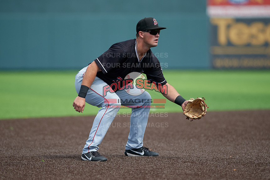 Batavia Muckdogs third baseman Nic Ready (3) during a NY-Penn League game against the Auburn Doubledays on September 2, 2019 at Falcon Park in Auburn, New York.  Batavia defeated Auburn 7-0 to clinch the Pinckney Division Title.  (Mike Janes/Four Seam Images)