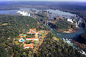 Iguassu Falls, Parana State, Brazil. Spectacular aerial view of the waterfalls and Hotel das Cataratas.