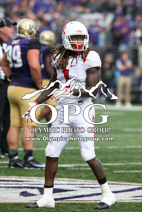 03 September 2016: Rutgers Janarion Grant against Washington.  Washington defeated Rutgers 48-13 at the University of Washington in Seattle, WA.