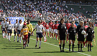 USA vs Canada Woman's Pregame, USA vs. Canada at the Third Place Match of the FIFA Women's World Cup USA 2003. USA 3, Canada, 1. (October 11, 2003). .