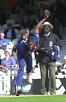 09/07/2002 - Tue.Sport - Cricket-  NatWest Series - Eng vs India Oval.India batting - Virender Sehweg and Sourav Ganguly.Alex Tudor bowling umpire Steve Bucknor