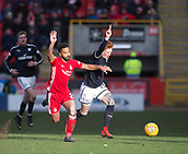 17th March 2018, Pittodrie Stadium, Aberdeen, Scotland; Scottish Premier League football, Aberdeen versus Dundee; Simon Murray of Dundee and Shaleum Logan of Aberdeen
