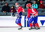 Stockholm 2015-03-13 Bandy SM-final herrar Sandvikens AIK - V&auml;ster&aring;s SK :  <br /> Karebys Linnea Gunnarsson firar sitt 3-1 m&aring;l med lagkamrater under matchen mellan Sandvikens AIK och V&auml;ster&aring;s SK <br /> (Foto: Kenta J&ouml;nsson)<br /> Nyckelord:  SM SM-final final Bandyfinal Bandyfinalen Dam Damer Dambandy AIK Kareby IS jubel gl&auml;dje lycka glad happy