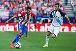 Atletico de Madrid's player Ángel Martín Correa and Deportivo de la Coruña's player Pedro Mosquera during a match of La Liga Santander at Vicente Calderon Stadium in Madrid. September 25, Spain. 2016. (ALTERPHOTOS/BorjaB.Hojas)