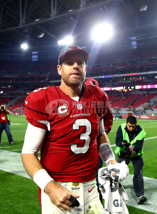Dec 27, 2015; Glendale, AZ, USA; Arizona Cardinals quarterback Carson Palmer (3) against the Green Bay Packers at University of Phoenix Stadium. Mandatory Credit: Mark J. Rebilas-USA TODAY Sports