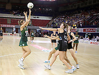 JOHANNESBURG, SOUTH AFRICA - JANUARY 25: Maryka Holtzhausen of the SPAR Proteas shoot for goal withKelly Jury defending during the Netball Quad Series netball match between Spar Proteas and Silver Ferns at the Ellis Park Arena in Johannesburg. Mandatory Photo Credit: ©Reg Caldecott/Michael Bradley Photography