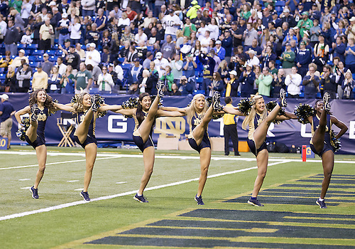 September 13, 2014:  Notre Dame cheerleaders performs during NCAA Football game action between the Notre Dame Fighting Irish and the Purdue Boilermakers at Lucas Oil Stadium in Indianapolis, Indiana. Notre Dame defeated Purdue 30-14.