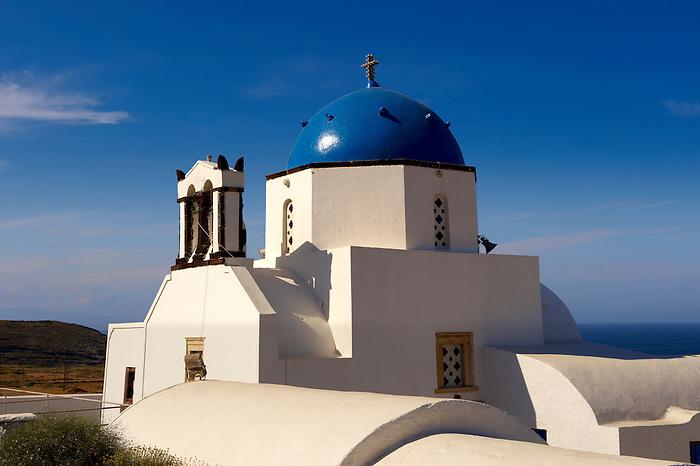 Blue domed  Orthodox church, Fira, Santorini