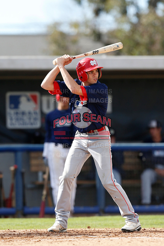 Austin Grebeck of Mater Dei High School in Santa Ana, California participates in the Southern California scouts game for high school seniors at the Urban Youth Academy on February 9, 2013 in Compton, California. (Larry Goren/Four Seam Images)