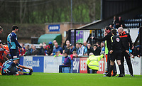 Blackpool manager Gary Bowyer points the finger at Wycombe Wanderers' Luke O'Nien (17) after the latter goes down injured<br /> <br /> Photographer Kevin Barnes/CameraSport<br /> <br /> The EFL Sky Bet League Two - Wycombe Wanderers v Blackpool - Saturday 11th March 2017 - Adams Park - Wycombe<br /> <br /> World Copyright &copy; 2017 CameraSport. All rights reserved. 43 Linden Ave. Countesthorpe. Leicester. England. LE8 5PG - Tel: +44 (0) 116 277 4147 - admin@camerasport.com - www.camerasport.com