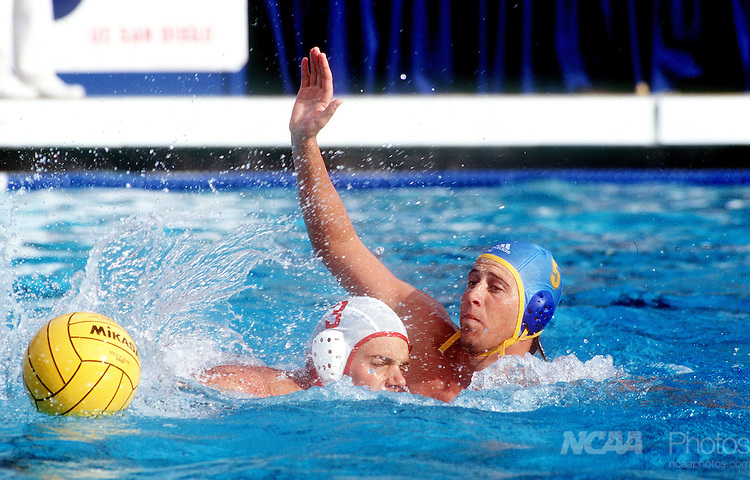 5 DEC 1999:  Adam Wright (5) of  UCLA tries to block Jonathan Skaalen (3) of Stanford from making a pass during the Division 1 Men's Water Polo Championship held at Canyonview Pool at the University of California-San Diego. UCLA defeated Stanford 6-5 for the championship title. Brock Scott/NCAA Photos.