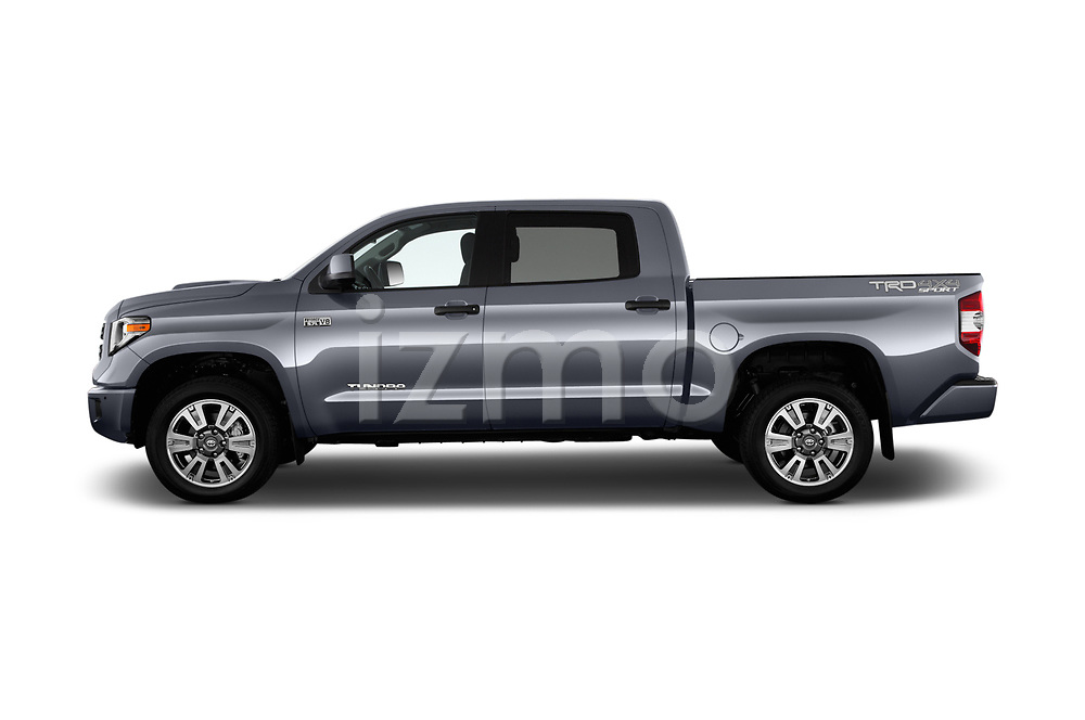 Car driver side profile view of a 2018 Toyota Tundra TRD Sport Crew 4 Door Pick Up