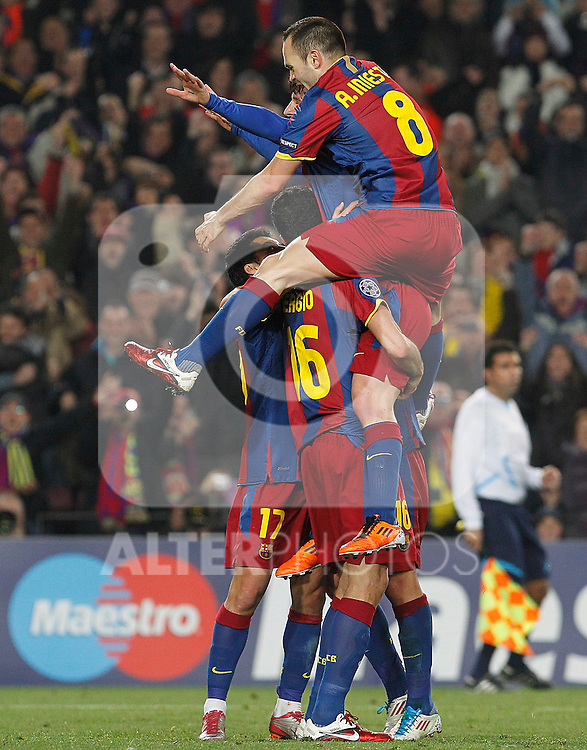 FC Barcelona's Leo Messi, Sergio Busquets, Pedro Rodriguez and Andres Iniesta celebrate goal during UEFA Champions League match.March 8,2011. (ALTERPHOTOS/Acero)