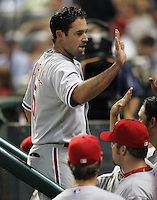 Philadelphia Phillies OF Pat Burrell after his pinch hit HR on Thursday May 22nd at Minute Maid Park in Houston, Texas. Photo by Andrew Woolley / Four Seam Images.