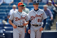 Detroit Tigers coaches Omar Vizquel (13) and Matt Martin (88) during a Spring Training game against the New York Yankees on March 2, 2016 at George M. Steinbrenner Field in Tampa, Florida.  New York defeated Detroit 10-9.  (Mike Janes/Four Seam Images)