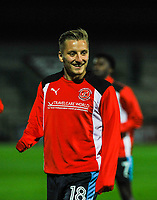 Fleetwood Town's midfielder George Glendon (18) in the warm up before the Sky Bet League 1 match between Scunthorpe United and Fleetwood Town at Glanford Park, Scunthorpe, England on 17 October 2017. Photo by Stephen Buckley/PRiME Media Images