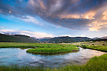 summer morning sunrise along the Big Thompson River in Rocky Mountain National Park near Estes Park, Colorado, USA