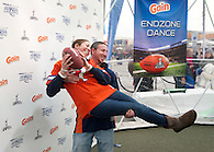 Having fun with a football at a Super Bowl marketing event for Procter & Gamble.
