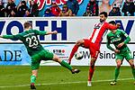 01.12.2019, Voith-Arena, Heidenheim, GER, DFL, 1. FC Heidenheim vs SpVgg Greuther Fürth, <br /> DFL regulations prohibit any use of photographs as image sequences and/or quasi-video, <br /> im Bild Tim Kleindienst (Heidenheim, #10) ist schneller am Ball als Paul Jaeckel (Fuerth, #23)<br /> <br /> Foto © nordphoto / Hafner
