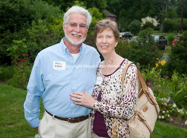 WOODBURY,  CT--- -070916JS10- Bill and Tricia Eder of Newtown at the Glebe House Museum's Wine &amp; Roses  garden party held at Glebe House in Woodbury. Proceeds from the event will go to support the renovation and preservation of the Gertrude Jekyll Garden. <br /> Jim Shannon Republican American