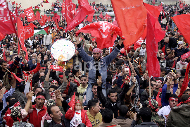 Palestinians take part in a rally organised by the Popular Front for the Liberation of Palestine (PFLP) to celebrate the 42nd anniversary of its establishment in Gaza City on December 12, 2009. Photo by Ashraf Amra