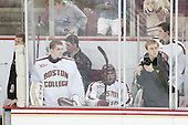 Bert Lenz (BC - Director-Sports Medicine), Brian Billett (BC - 1), Matt Malloy (BC - Student Manager), Peter McMullen (BC - 20), Graham Beck, Thatcher Demko (BC - 30) - The Boston College Eagles defeated the visiting St. Francis Xavier University X-Men 8-2 in an exhibition game on Sunday, October 6, 2013, at Kelley Rink in Conte Forum in Chestnut Hill, Massachusetts.