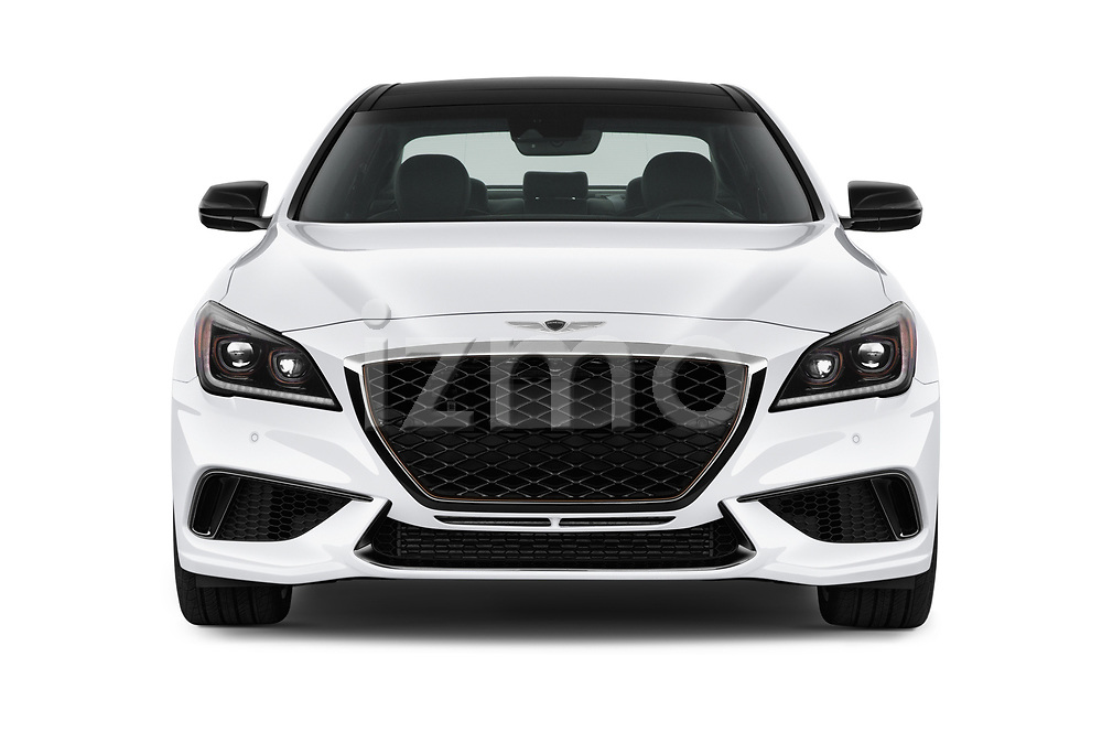Car photography straight front view of a 2018 Genesis G80 Sport 4 Door Sedan