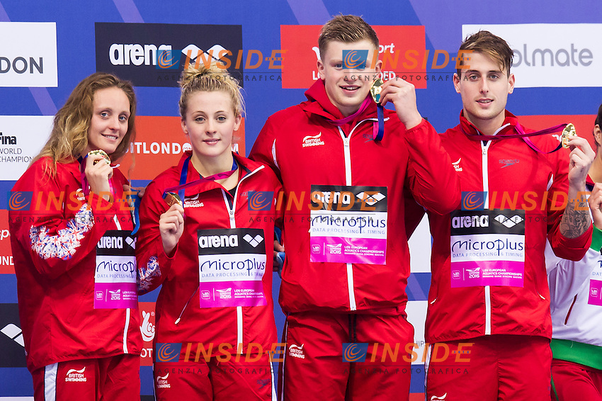 Team GBR GREAT BRITAIN gold medal<br /> London, Queen Elizabeth II Olympic Park Pool <br /> LEN 2016 European Aquatics Elite Championships <br /> Swimming<br /> Mixed 4x100m medley final <br /> Day 09 17-05-2016<br /> Photo Giorgio Perottino/Deepbluemedia/Insidefoto