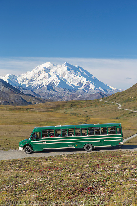 Tourist enjoy views of North America's tallest mountain on a clear day in Denali National Park, Alaska.
