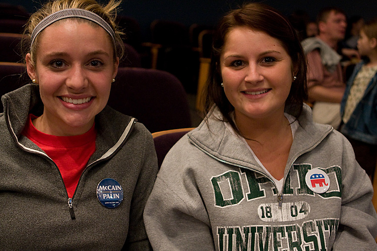 4. Sarah Kyriakedes and Hilary Griffith, juniors, attend the UPC.Election Results Party at Baker Center on November 4th. Both.Kyriakedes and Griffith voted for McCain.