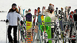 NEW HARTFORD,  CT-122616JS04-- Sisters Rachel Hebb left, and Emily Hebb, both of New Hartford, put their skis on the rack after ending a ski run Monday at Ski Sundown in New Hartford. The hills opened for the season this past Friday. <br />   Jim Shannon Republican American