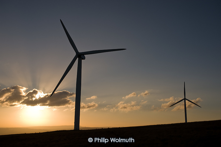 Some of the 26 turbines on Scout Moor outside Rochdale, Lancashire, the largest onshore wind farm in the UK.  It is run by Peel Energy and provides energy for 40,000 homes.