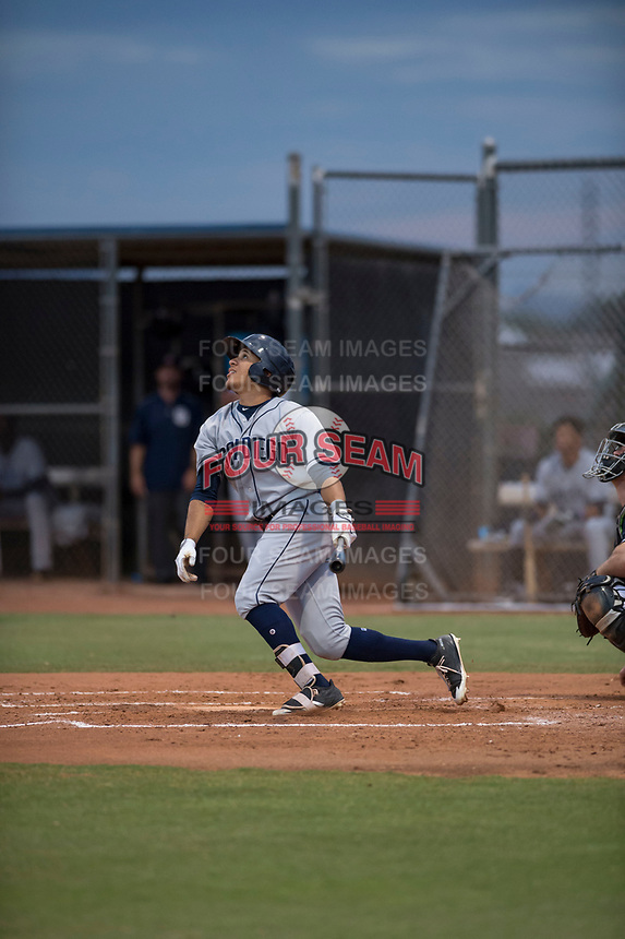 AZL Padres 1 center fielder Jawuan Harris (13) starts down the first base line during an Arizona League game against the AZL Padres 2 at Peoria Sports Complex on July 14, 2018 in Peoria, Arizona. The AZL Padres 1 defeated the AZL Padres 2 4-0. (Zachary Lucy/Four Seam Images)