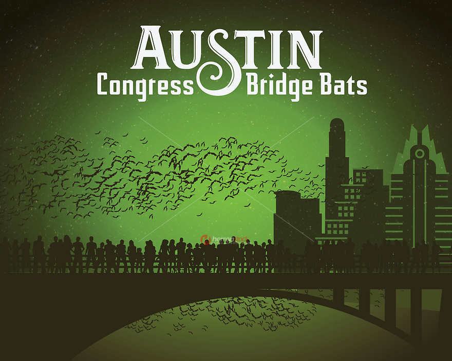 Austin Congress Bridge Bats silhouette fine art print in green. Every summer night, the world's largest urban bat colony emerge from under the Congress Avenue Bridge.