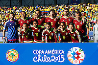 RANCAGUA- CHILE - 14-04-2015: Los jugadores de Venezuela, posan para una foto durante partido Colombia y Venezuela, por la fase de grupos, Grupo C, de la Copa America Chile 2015, en el estadio El Teniente en la Ciudad de Rancagua. / The players Venezuela, pose for a photo during a match between Colombia and Venezuela for the group phase, Group C, of the Copa America Chile 2015, in the El Teniente stadium in Rancagua city. Photos: VizzorImage /  Photosport / Marcelo Hernandez / Cont.