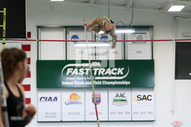 """WINSTON-SALEM, NC - FEBRUARY 07: Elaina Roeder of Wake Forest University was the top collegiate competitor in the Women's Pole Vault, clearing 3.35 meters (10'11.75"""") at JDL Fast Track on February 07, 2020 in Winston-Salem, North Carolina."""