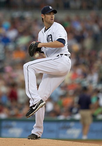 August 30, 2011:  Detroit Tigers starting pitcher Doug Fister (#58) delivers pitch in the first inning during MLB game action between the Kansas City Royals and the Detroit Tigers at Comerica Park in Detroit, Michigan.  The Tigers defeated the Royals 2-1.