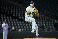 Wilmington Blue Rocks relief pitcher Robert Garcia (31) in action against the Winston-Salem Dash at BB&T Ballpark on April 15, 2019 in Winston-Salem, North Carolina. The Dash defeated the Blue Rocks 9-8. (Brian Westerholt/Four Seam Images)