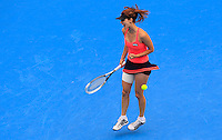 Tsvetana Pironkova of Bulgaria reacts after winning a point against Petra Kvitova of Czech Republic during their semi-final match at the Sydney International tennis tournament, Jan. 9, 2014.  Daniel Munoz/Viewpress IMAGE RESTRICTED TO EDITORIAL USE ONLY