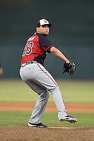 Atlanta Braves pitcher Luis Avilan (43) during a Spring Training game against the Baltimore Orioles on April 3, 2015 at Ed Smith Stadium in Sarasota, Florida.  Baltimore defeated Atlanta 3-2.  (Mike Janes/Four Seam Images)