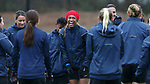 RALEIGH, NC - MARCH 13: Jessica McDonald (center) interacts with teammates before practice. The North Carolina Courage held their first ever training session on March 13, 2017, at WRAL Soccer Center in Raleigh, NC to start their preseason before the 2017 NWSL Season. Prior to its offseason relocation the team was known as the Western New York Flash.