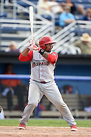 Williamsport Crosscutters catcher Deivi Grullon (29) at bat during a game against the Batavia Muckdogs on July 27, 2014 at Dwyer Stadium in Batavia, New York.  Batavia defeated Williamsport 6-5.  (Mike Janes/Four Seam Images)