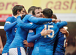 Andy Halliday leads the celebrations as Emerson Hyndman scores