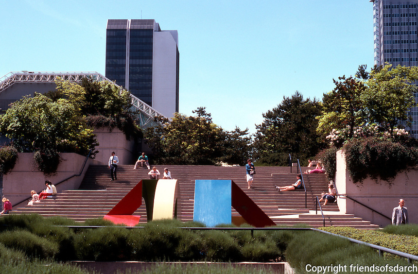 """Vancouver: Law Courts--Robson Square. Sculpture """"Primary No. 9"""" by Mike Banwell, 1981.  Photo '86."""