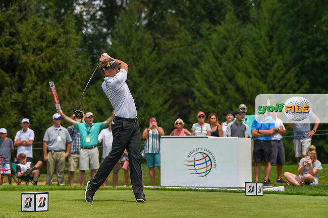 Ian Poulter (GBR) watches his tee shot on 4 during 4th round of the World Golf Championships - Bridgestone Invitational, at the Firestone Country Club, Akron, Ohio. 8/5/2018.<br /> Picture: Golffile | Ken Murray<br /> <br /> <br /> All photo usage must carry mandatory copyright credit (© Golffile | Ken Murray)