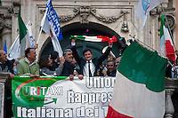 Roma, 28 Aprile, 2008. Gianni Alemanno in Piazza del Campidoglio durante i festeggiamenti per la vittoria a Sindaco di Roma.<br /> Gianni Alemanno celebrates his victory as mayor of Rome at Capitol Hill.