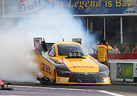 Apr 24, 2015; Baytown, TX, USA; NHRA  funny car driver Del Worsham during qualifying for the Spring Nationals at Royal Purple Raceway. Mandatory Credit: Mark J. Rebilas-